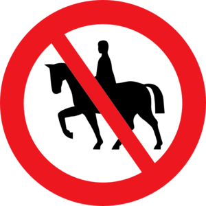 Horse Riding Prohibited White Bg Clip Art