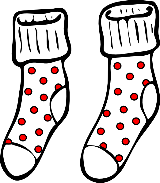 Clipart Spotty Socks on love coloring pages