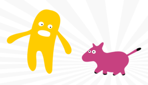Comic Guy And Pink Dog Clip Art