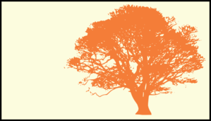 Tree, Orange Silhouette, Cream Background Clip Art