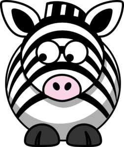 Zebra Looking Left-down Clip Art