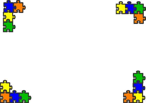 Puzzle piece border. Blue top clip art