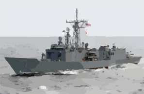 Uss Gary (ffg 51) Cruises Along Side Kitty Hawk Clip Art