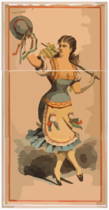 [dancing Chorus Girl With Cane And Blue Hat] Clip Art