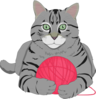 Cat With Pink Yarn Clip Art