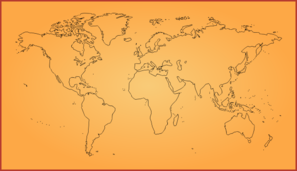 World Map With Orange Gradient Clip Art