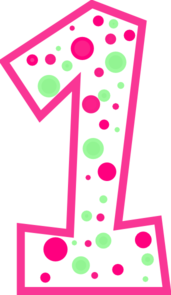 Number 1 Pink And Green Polkadot Clip Art