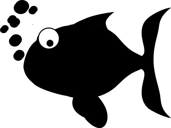cartoon fish clipart black and white - photo #15