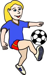 Soccer Playing Girl Coloured Clip Art