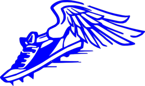 Winged Foot, Blue And White Clip Art
