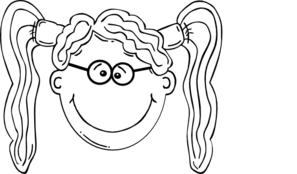 Girl Pigtails & Glasses Clip Art