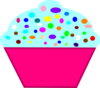 Cupcake Pink, Blue Frosting Clip Art