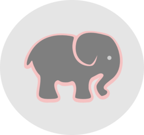Grey Elephant With Pink In Circle Clip Art