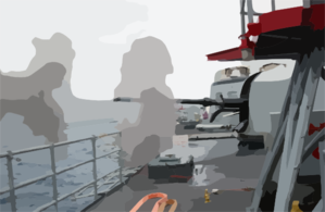 76mm Gun Mount On Navy Frigate Conducts Target Practice. Clip Art