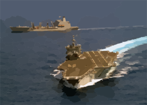 The Uss Enterprise (cvn 65) Pulls Away From The Military Sealift Command Fast Combat Support Ship Usns Leroy Grumman (t-ao 195) During An Emergency Breakaway Drill Clip Art