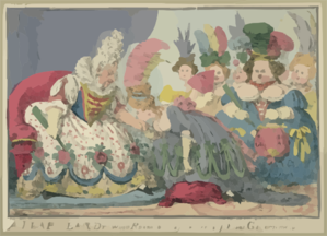 A Leap Year Drawing Room, Or The Pleasures Of Petticoat Government  / Cruikshank Fecit. Clip Art