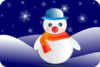 Snowman In Winter Scenery Clip Art