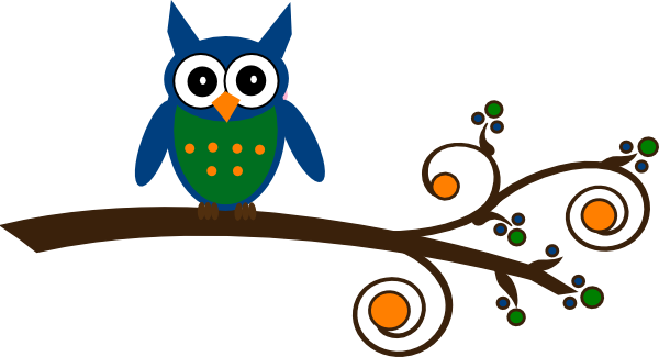 Blue And Green Owl On Branch Clip Art at Clker.com ...