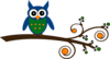 Blue And Green Owl On Branch Clip Art