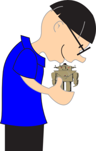 Scientist Holding Small Robot Clip Art