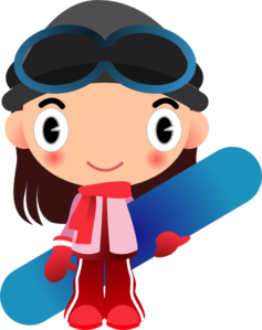 Girl With Snowboard Clip Art