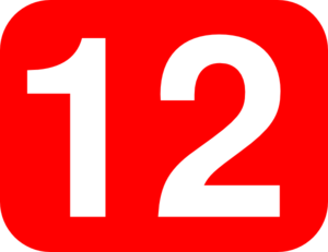 Number 12 Red Background Clip Art