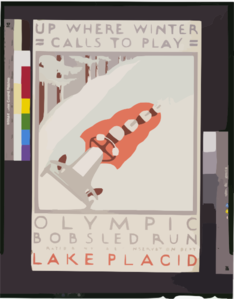 Up Where Winter Calls To Play Olympic Bobsled Run Lake Placid / J. Rivolta. Clip Art