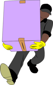 Black Man Carrying Box Clip Art