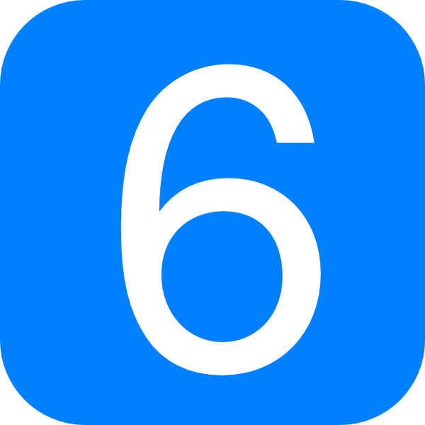 Blue Rounded Square With Number 6 Clip Art