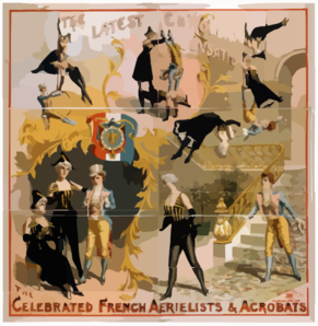 The Celebrated French Aerielists [sic] & Acrobats The Latest European Sensation. Clip Art