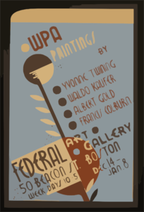 Wpa Paintings By Yvonne Twining, Waldo Kaufer, Albert Gold, [and] Francis Colburn Federal Art Gallery, 50 Beacon St., Boston. Clip Art
