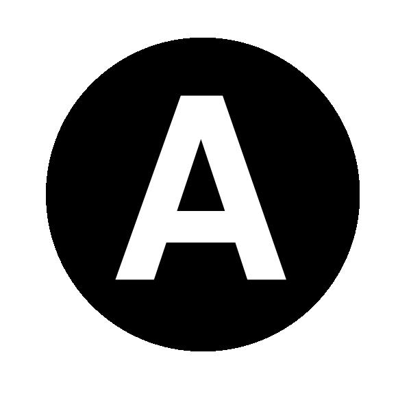 White Letter A Centered Inside Black Circle Clip Art at ...
