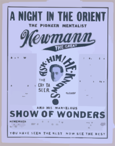 A Night In The Orient The Pioneer Mentalist Newmann The Great And His Marvelous Show Of Wonders. Clip Art