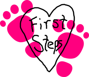 First Steps Heart Logo Clip Art