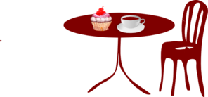 Table Chair Cupcake Cherry Coffee Clip Art