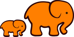 Orange Elephant Mom & Baby Clip Art