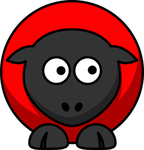 Sheep - Red On Red On Black Eyes To Right  Clip Art