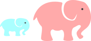 Grey Elephant Mom & Baby/pink And Blue Clip Art