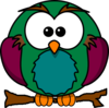 Cute Owl On Branch 2 Clip Art