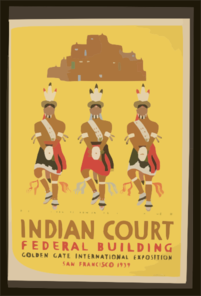Indian Court, Federal Building, Golden Gate International Exposition, San Francisco, 1939 Pueblo Turtle Dancers From An Indian Painting, New Mexico / Siegriest. Clip Art
