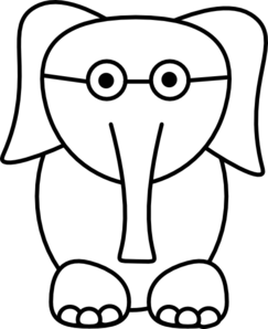 White Elephant With Glasses Clip Art