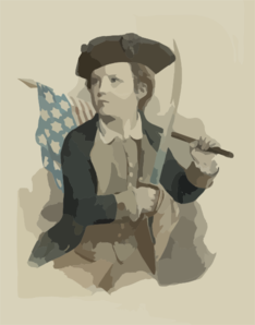 Young Boy Carrying American Flag And Sword Clip Art