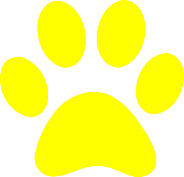 Yellow paw print clip art