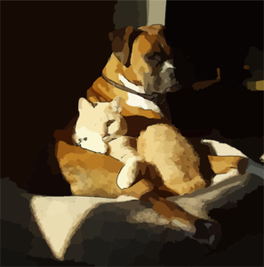 Brindle Boxer And House Cat Clip Art
