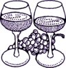 Large Wine Glasses With Grapes Purple Clip Art