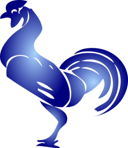 Blue Rooster Stencil Clip Art