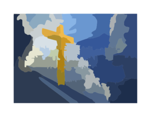 Cross With Cloud Background Clip Art