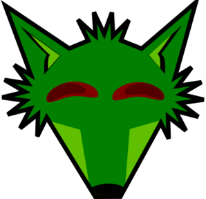 Green Fox Head With Eyes Clip Art