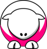 Sheep - White On Bright Pink No Eyeballs  Clip Art