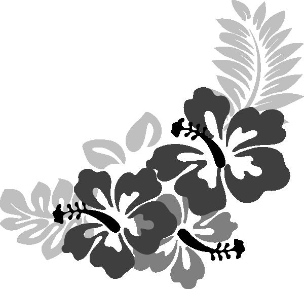 Black Flower 3 Clip Art At Clker Com: Grey Hibiscus 3 Clip Art At Clker.com